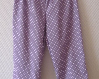 SALE item Organic cotton capri pants. Cropped pants. size Large. Lavender polka dots