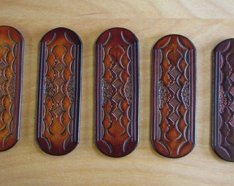 Leather Stick Barrette - H32155 - Hand Tooled, Free US Shipping