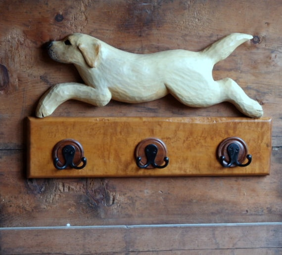 Labrador Retriever Coat Rack - Yellow Lab Leash Holder - Pets Dogs