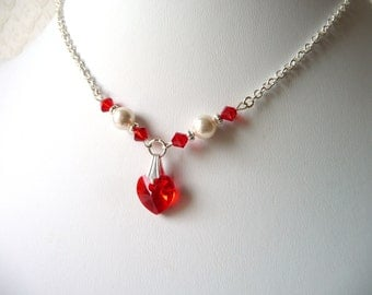 Flower Girl Necklace Red Swarovski Pearl Crystal Necklace Heart Necklace Kids Jewelry Little Girl Necklace Childrens Jewelry Dress Up