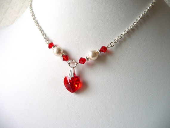 Necklace Red Flower Flower Girl Necklace Red