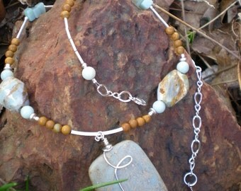 Spirit In The Sky beaded necklace, one of a kind, aqua terra jasper and sterling silver by Grey Girl Designs on Etsy