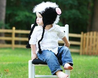 Crochet Skunk Hat