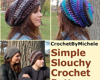Super Easy PDF Download  Crochet Hat PATTERN,  Simple Crochet Slouchy Beanie Adult Hat Pattern