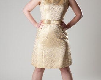 Vintage 1960s Wedding Dress - Mod Gold Brocade - Mad Men Prom Fashions