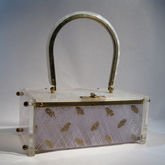 Vintage 1950s Toro Lucite Purse Silver Gold Confetti Leaf Wedding Bridal Fashions