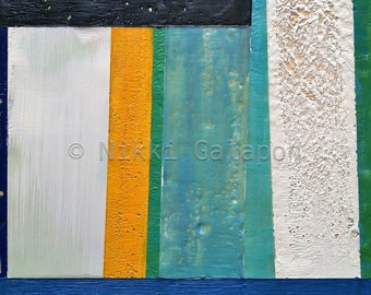 Original Encaustic painting, 9x12 original abstract minimalist modern art in blue, green, red, white and yellow