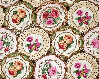 Tea Cup Plate FABRIC Fantastic Roses Shabby Chic