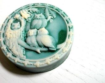OWL SOAP, Bird Soap, Emerald Owl Quartet Soap, Animal Soap, Nature Soap, Scented in Spearmint Eucalyptus, Handmade, Vegetable Based