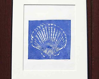 Giant scallop shell print, 11 x 14, original nature relief print, coastal living, marine blue, hand-pulled print, nautical theme, seaside