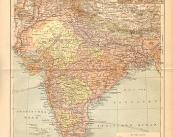 1900 Original Antique Dated Map of East India