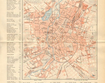 1894 Original Antique City Map of Chemnitz