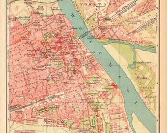 1905 Antique Dated City Map of Warsaw, Poland