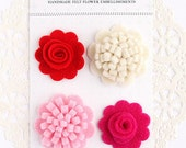 Handmade Felt Flower Embellishments- Lovely Floral Mix