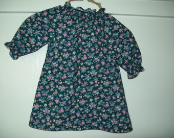 Peasant Dress, Green Floral Print Cotton, Toddler Size 1T, Ready to Ship