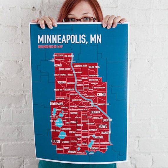 Minneapolis Neighborhood Map In Blue Amp Red 13x19 By