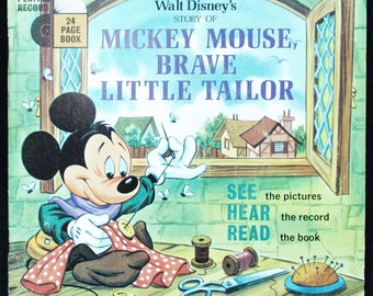 VINTAGE 1968 Mickey Mouse Record Book Read Along Brave Little Tailor Walt Disney Songs Disneyland Records Tinker Bell Tinkerbell 33 Easter
