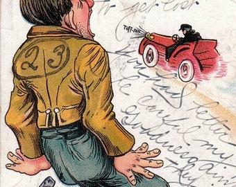 Bless My Heart- 1900s Antique Postcard- Darned Carts Frighten a Fellow- Automobile- Old Art Comic- Edwardian Decor- Paper Ephemera- Used