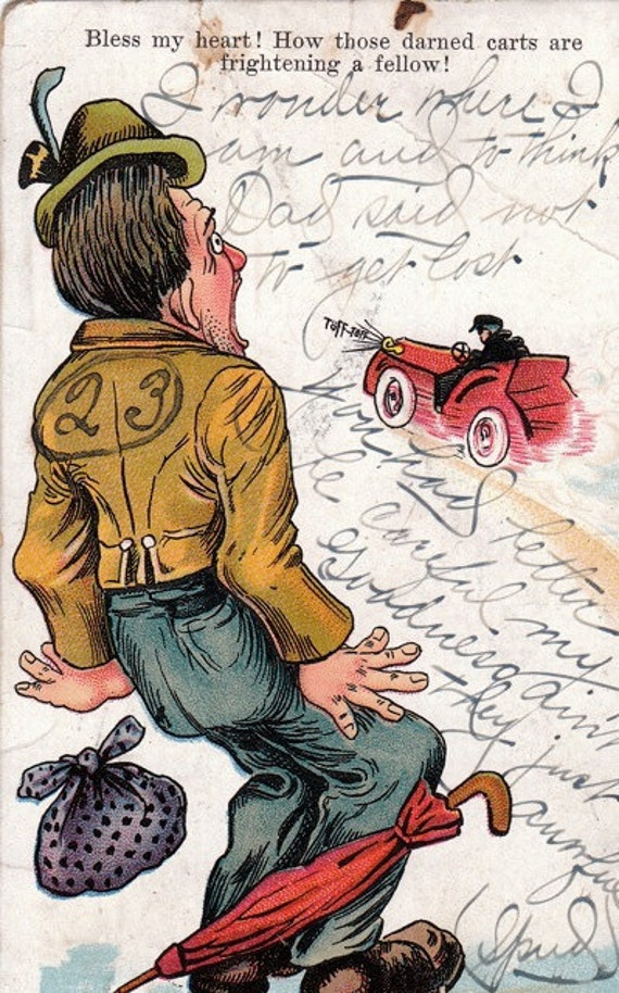 Bless My Heart- 1900s Antique Postcard- Darned Carts Frighten a Fellow- Automobile- Old Art Comic- Edwardian Decor- Paper Ephemera- Used