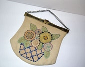 Vintage Antique handbag purse / Jemco metal frame / 1910's Edwardian carpet bag / art nouveau pocketbook  / Downton Abbey Titanic