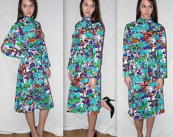 Flora .... vintage 60s 70s midi dress / 1960s abstract floral / 1970s boho biba style / mad men mod secretary office ... M L