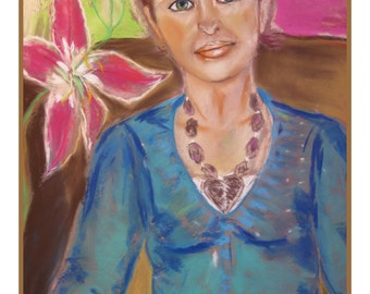 """Large 18 """" x 24 """"Soft Pastels Woman Portrait.A cup of Coffee.Wall Decor . Contemporary Art ."""