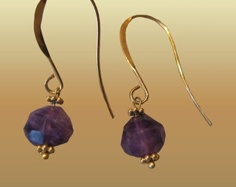 Round Natural Violet Lavender Amethyst Faceted  Dangle Gemstone Petite Small S