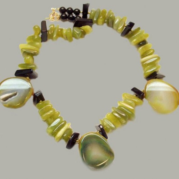 Genuine Green Jade and Black Obsidian Necklace