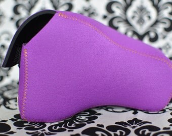 DSLR Camera Case - Bright purple neoprene with contrasting orange stitching