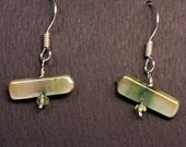 Green Stick Pearl, Faceted Peridot, & Sterling Earrings - BEGIN with a little luck ;) - Free US shipping