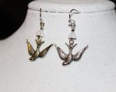 Silver Sparrow Bird Earrings