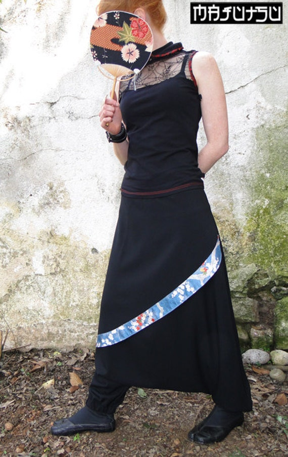 Harem pants kimono japanese silk skirt