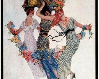 Vogue Magazine Cover Poster- June 15, 1913 -Fashions for the Traveler/European Interests - Vintage