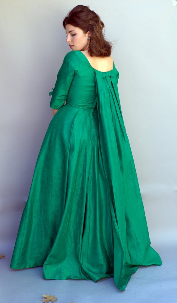 Vintage 1960s Dress - Marie Antoinette - Kelly Green Silk Ball Gown with Watteu Train