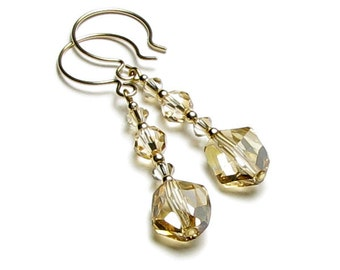 Golden Sands 14K Gold Filled French Hoop Swarovski Crystal Earrings, Neutral Beige Tan Cream Ivory, Long Elegant Earrings, Jewelry For Women