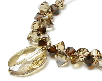 Oval Cameo Swarovski Crystal Necklace in Mocha Topaz Golden Shadow Natural Color Fall Jewelry Autumn Accessory for Women Neutral Brown Beige