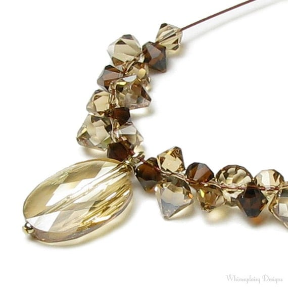 Cafe Espresso Oval Cameo Brown Topaz Golden Shadow Swarovski Crystal Necklace, Fall Wedding Jewelry, Mother of the Bride, Bridesmaids Gift