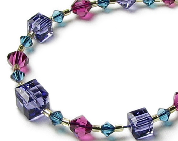 Vineyard Purple Tanzanite Fuchsia Teal Turquoise Swarovski Crystal Necklace, Fall Jewelry, Autumn Wine Tasting Vacation Trip, Gift for Women