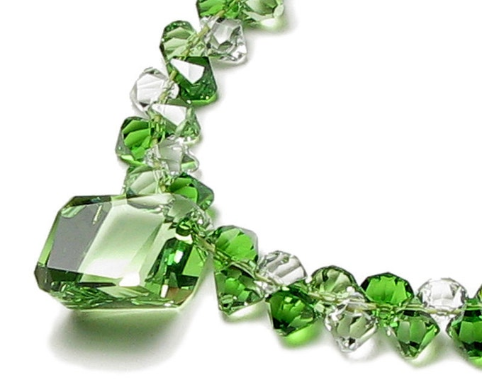 Emerald Kiss Bright Green Swarovski Crystal Cluster Necklace, Drop Pendant, St. Patrick's Day Jewelry, Fresh Classic Spring Gift For Women