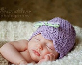 Purple Crochet Beanie Hat, Floral Print Bow, Lavender Baby Beanie Crochet Baby Hat, Newborn to 10 Years Size (Item ----/728/1539/1312/666)