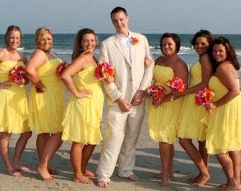 Beach Weddings Silk Bouquets bridesmaids Orange hot Pink Yellow bridal accessories brides maid bokay artificial flowers destination wedding