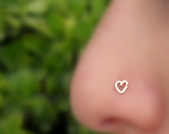 Nose Stud - Nose Ring - Nose Piercing - Tragus Earring - Cartilage - Valentine Heart Nose Ring Stud - 14K Rose Gold Filled Heart Shape