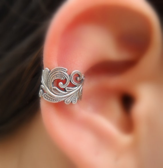 sterling silver ear cuff lace fake piercing faux. Black Bedroom Furniture Sets. Home Design Ideas