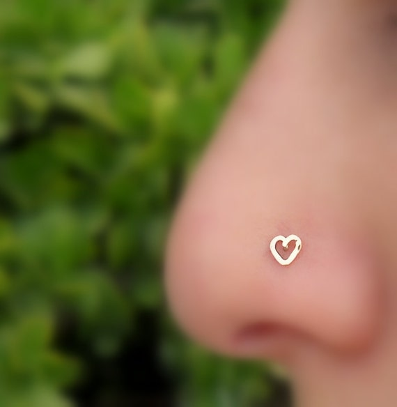 Nose Stud - Nose Piercing - Tragus Earring - Cartilage Piercing - 14K Solid Rose Gold - Valentine Heart Nose Ring  - Heart Shape Nose Ring