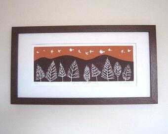 Birds in Flight Linocut Limited Edition Number 2/9 - White Doves - Sunset Orange Sky Original Lino Block Print by Giuliana Lazzerini