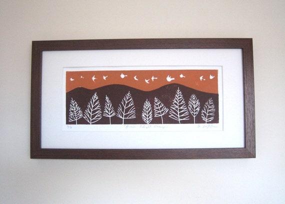 Birds in Flight Linocut Limited Edition Number 4/9 - White Doves - Sunset Orange Sky Original Lino Block Print by Giuliana Lazzerini