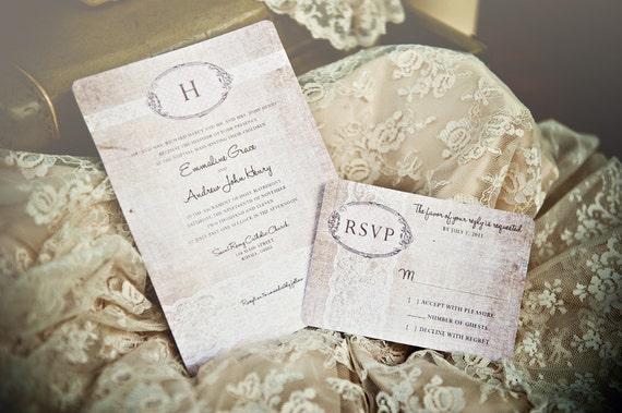 Rustic Romantic Wedding Invitations: Items Similar To Linen Lace Wedding Invitation /// Vintage