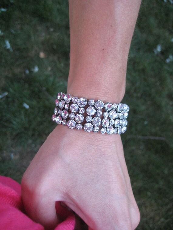 Cuff Bracelet, Rhinestone Bracelet, Bling Bracelet, Wedding Jewelry, Bridal Jewelry, Bride Bracelet, Bride Cuff, Rhinestone Cuff, Handmade