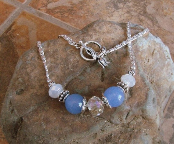 Periwinkle Jade and White Opal Crystal and Silver, Princess Choker, Anna in Blue