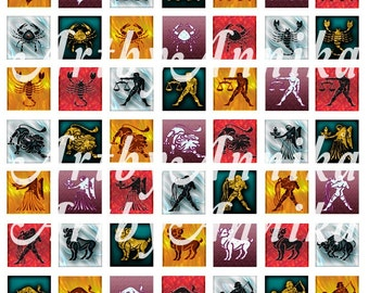 Zodiac Signs - 60 1x1 Inch Square JPG images - Digital Collage Sheet